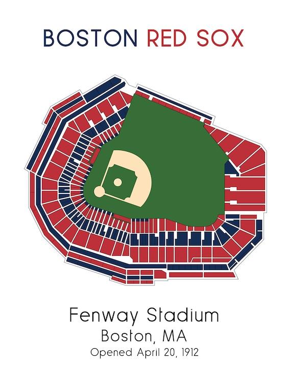 Boston Red Sox Ballpark Map Fenway Park Mlb Stadium Map Baseball Stadium Map Gift For Him Stadium Seating Chart Man Cave