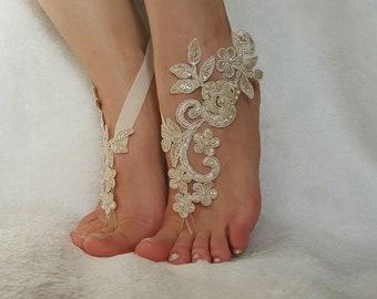 5b9665e7d6765 Champagne white ivory black smoked blue blush pink Beach wedding barefoot  flexible wrist anklet steampunk Wedding sandals bridal gifts