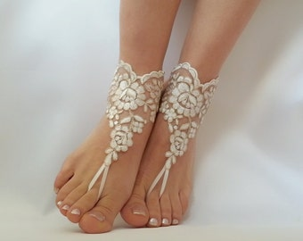 19ede1a8696cd ivory gold frame black and ivory beach wedding lace barefoot sandals bridal  accessories lace sandals lace shoes wedding jewelry anklets