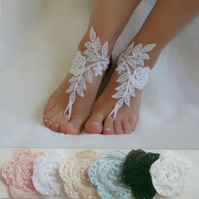 60e869162a2b2 Beach Weddings Lace Barefoot Sandals Bridesmaids Gifts Bridal Jewelry  Wedding Shoes Steampunk Bangle Bridals Accessories Handmade laces
