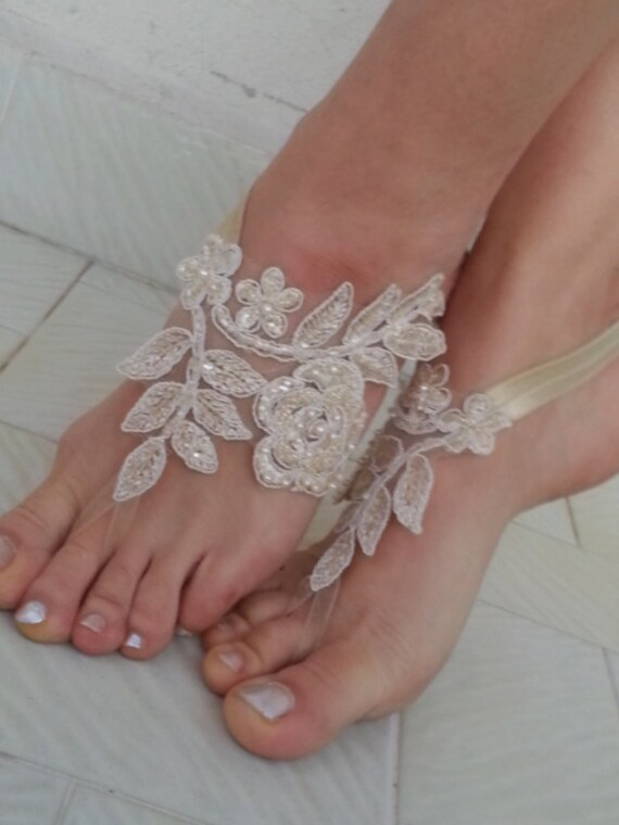 14fc686df6309 Champagne Beach wedding barefoot sandals french lace sandals