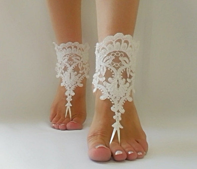 1899e29a9b195 Beach wedding lace barefoot sandals ivory bridal accessories bangle anklets  bridal wedding shoes ivory lace sandals bridesmaids gifts