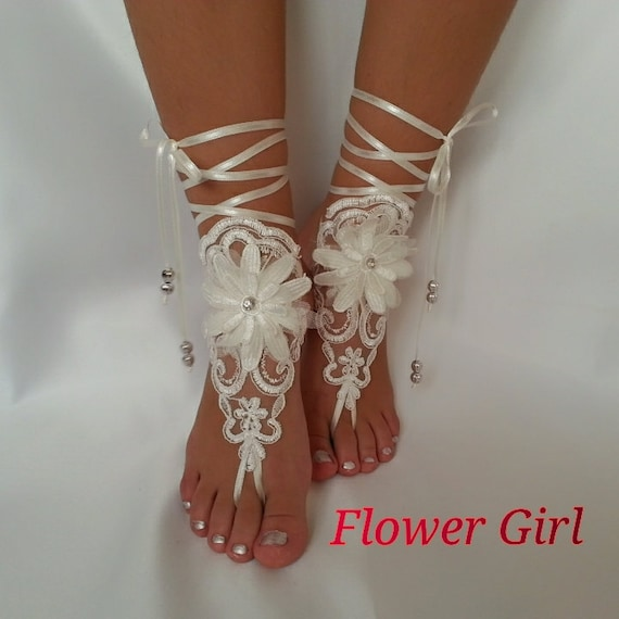 df6c0e4ac6 ivory Free Ship Flower girl anklet embrodeired Beach wedding barefoot  sandals, bangle wedding anklet flower girl wedding