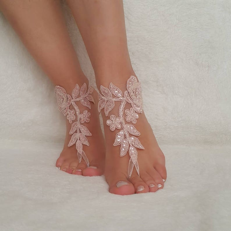 49768363f6c46 Beach Wedding 7 Color Lace Barefoot Sandals , Bridal Anklet Bridesmaid Gift  New Model Jewelery Bridal Sandals Shoes Lace Bangle Ankle Sandal