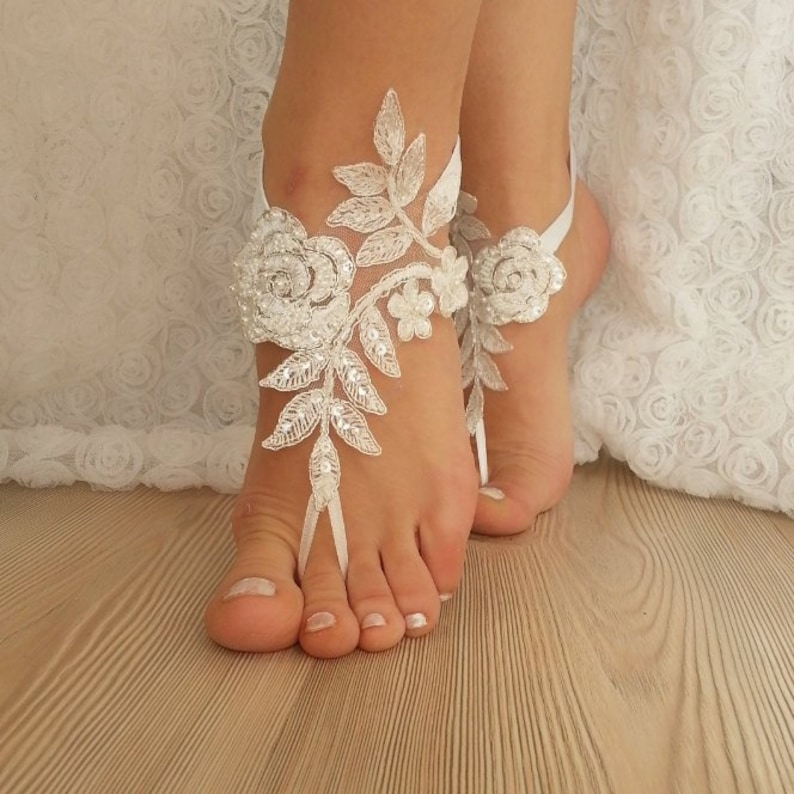 f09ab9db5cdf2 Ivory Silver Frame Lace Barefoot Sandals Wedding Anklet Beach Wedding  Barefoot Sandals Shoes Bangle Bridal Accessories Bridesmaid Gifts