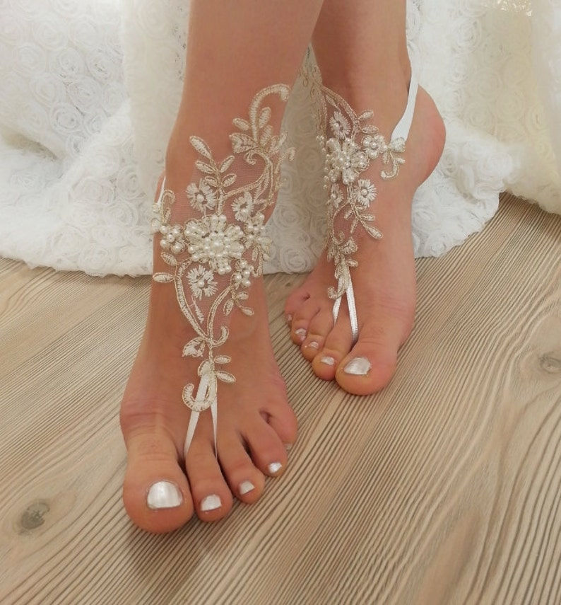 2d432b77838e Ivory gold frame pearl beaded Beach wedding barefoot