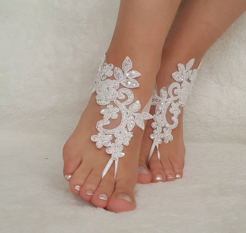 a63eb7fc9ee White ivory lace barefoot sandals wedding barefoot