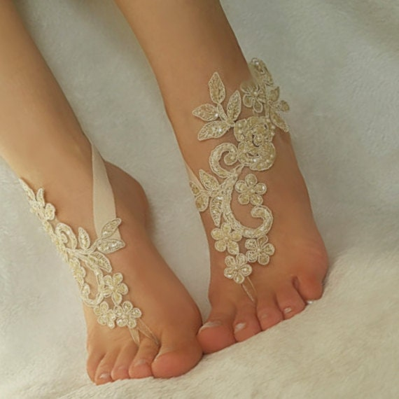 687dcfac5f182 Champagne black Beach wedding barefoot sandals french lace