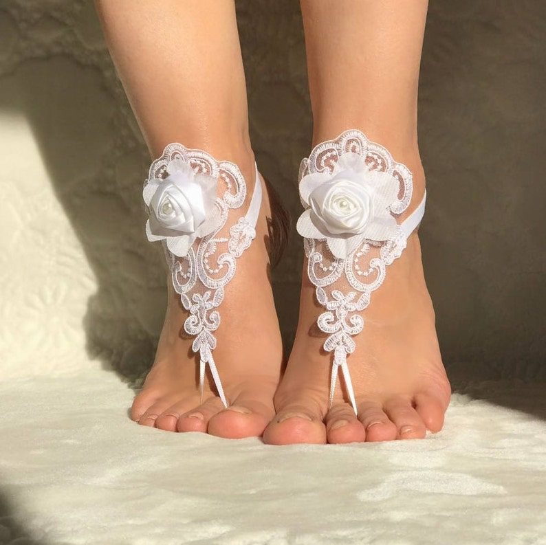 8acd9fd31a9d0 Beach wedding white lace barefoot sandals bridal shoes 3D flowers foot  accessories bangles anklet laces jewelry party bridesmaids gifts prom