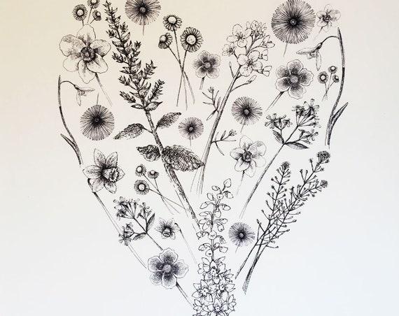 Heart full of flowers - art print