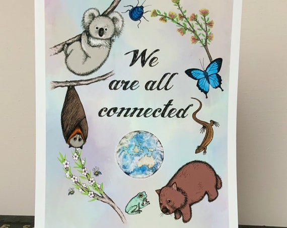 We are all connected - art print for Australia with plants and animals