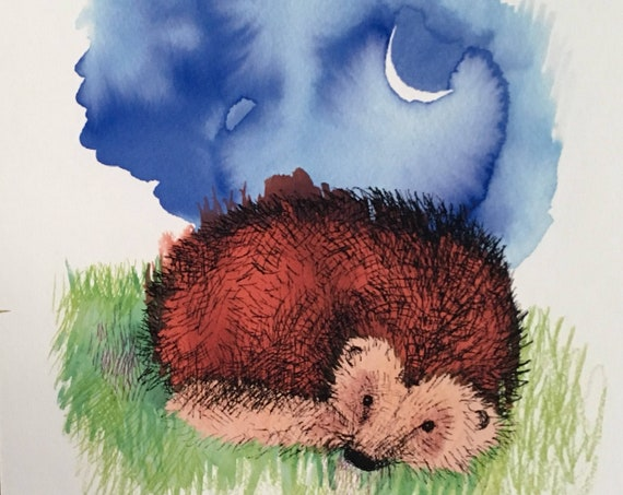 Hedgehog and new moon - art print