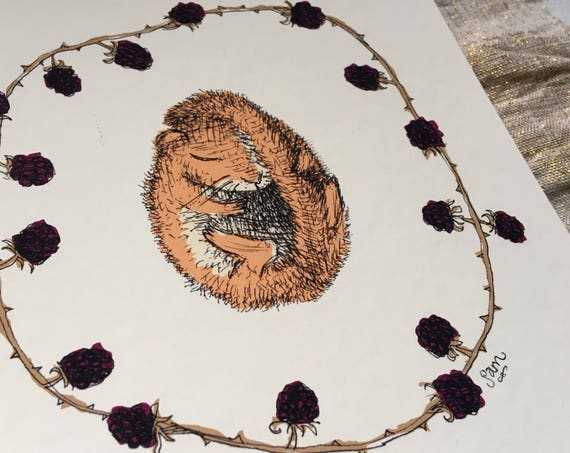 Join the hibernation - dormouse and bramble art print