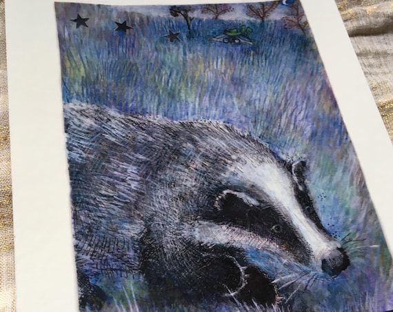 Badger watching - art print