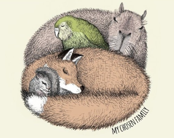 My chosen family - capybara, fox, dormouse, kakapo art print - personalisable