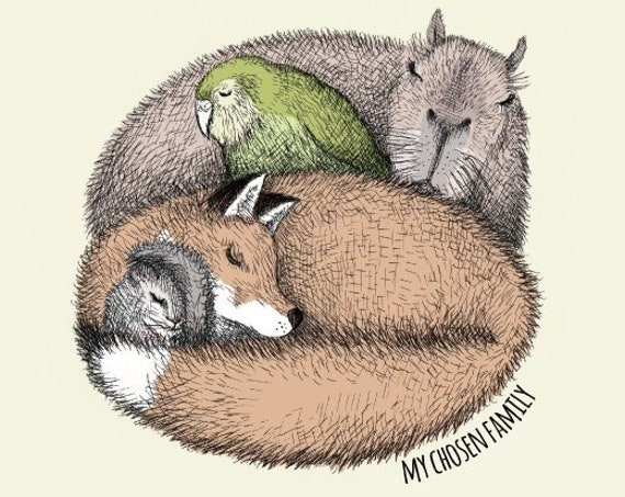My chosen family - capybara, fox, dormouse, kakapo art print