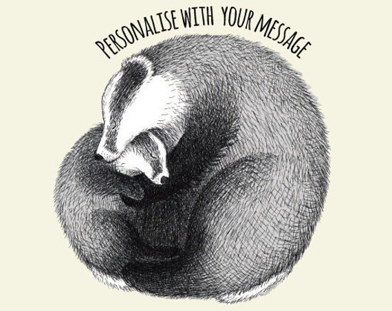 Personalised art print with baby badger