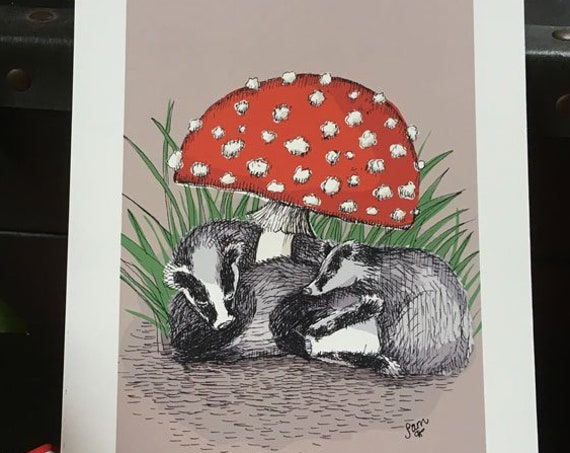 Little badgers under a mushroom - art print