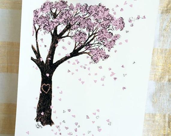 Blossoming heart tree - art print