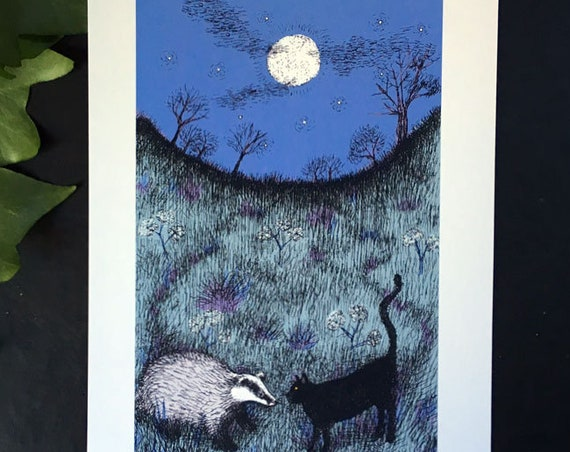 Black cat meets a badger - art print for Halloween