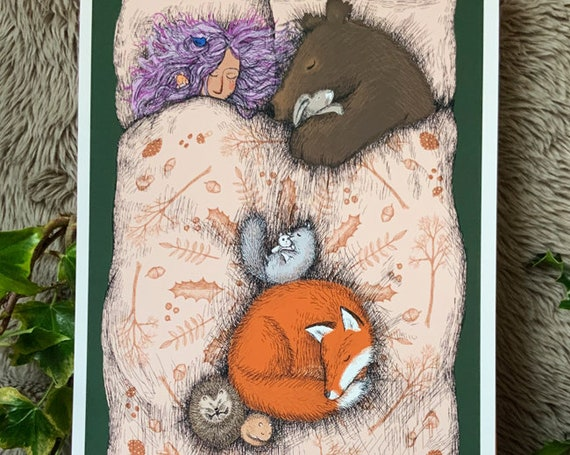 Snuggled - a sleeping bear, rabbit, squirrel, dormouse, fox and witchy lady sleep in a giant bed - art print