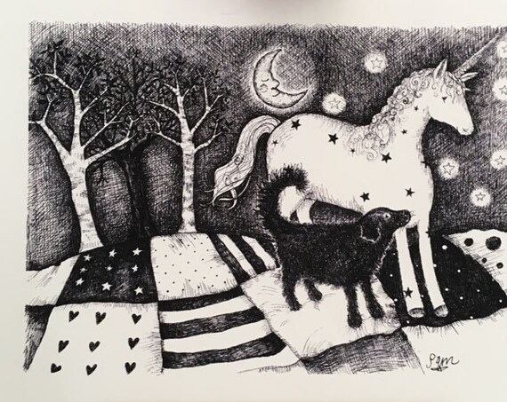 Shadow the Dog and the Unicorn - nursery art print