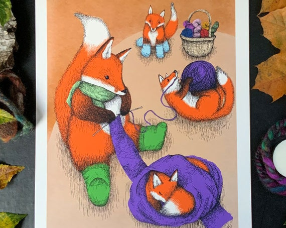 Knitting fox with cubs - cosy art print