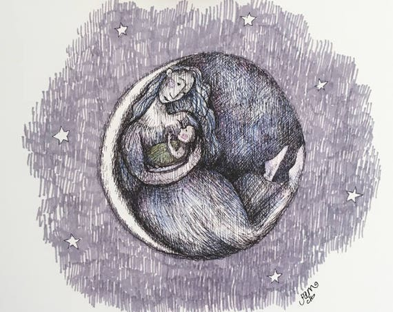 Mama Moon art print - nursery art