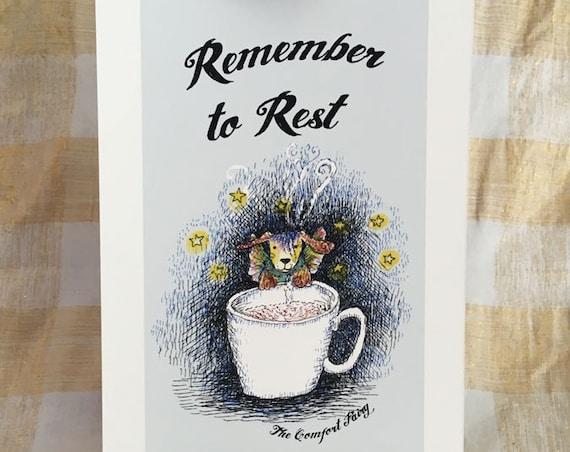 Remember to Rest - Comfort Fairy dog positive affirmation art print