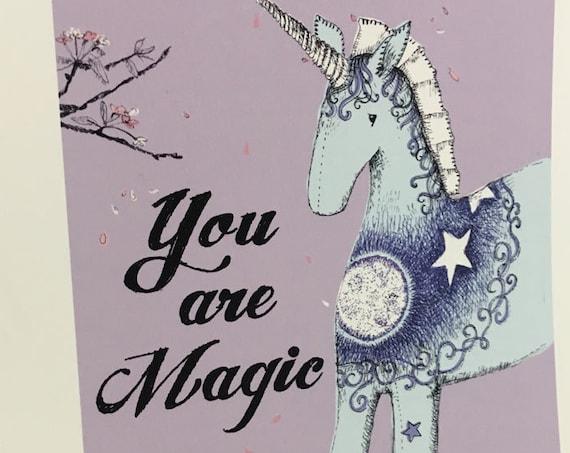 You are Magic - nursery art print with a unicorn