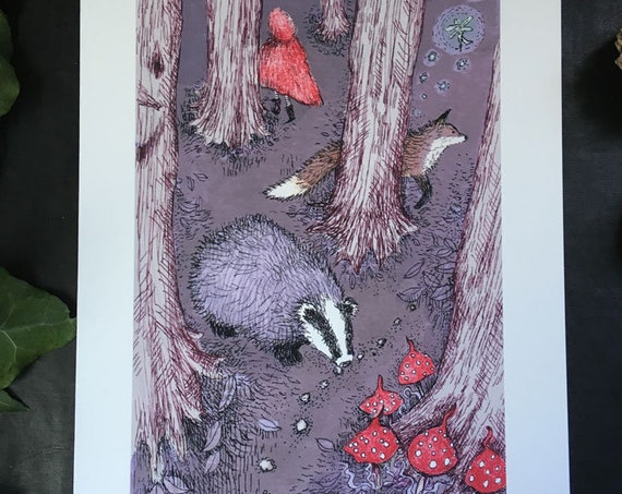 Badger and fox in the fairy tale woods - art print