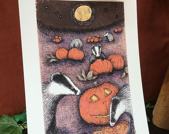 Badgers in the Pumpkin Patch - art print for Halloween