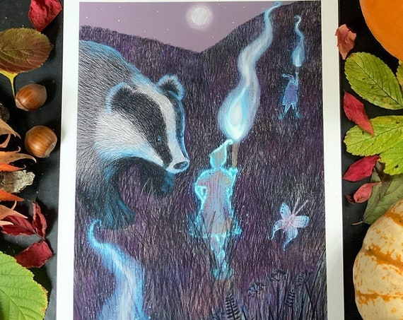 Will O the Wisps and a Badger - art print