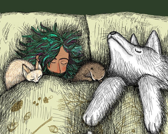 Cosy - a sleeping wolf, hare, fennec fox, squirrel, badger and an otter with a wizard-y person in a giant bed - art print
