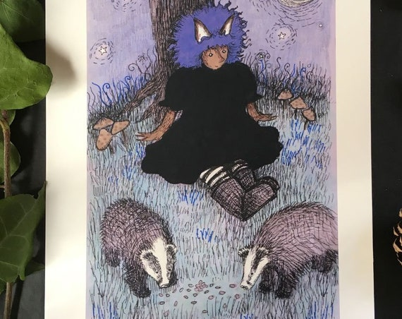 Werewolf girl with badgers - art print