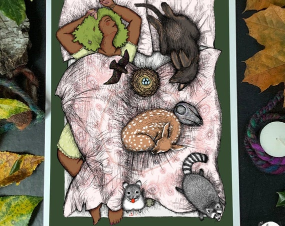 Comfy - a sleeping puppy, deer, pigeon, raccoon with a chinchilla and a starling's nest and a witchy lady sleep in a giant bed - art print