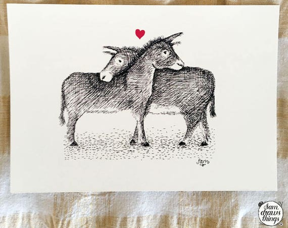 Donkeys in Love - art print
