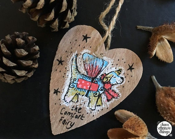 Comfort Fairy wooden heart decoration