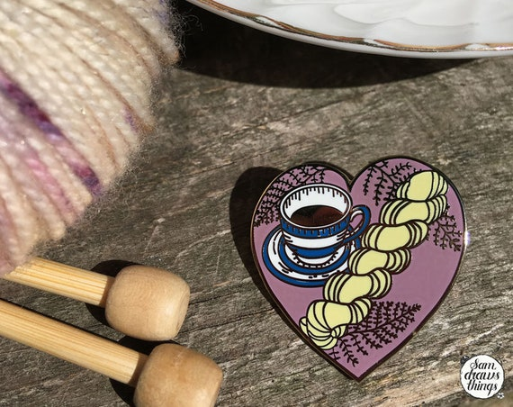 Pretty pink knitting pin collaboration with Lay Family Yarn