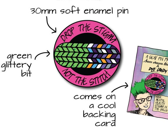 Preorder enamel pin and yarn collaboration with Dye Candy - fundraiser for mental health charity