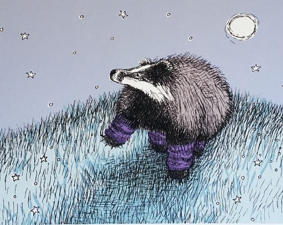 What a feeling - badger in leg warmers art print