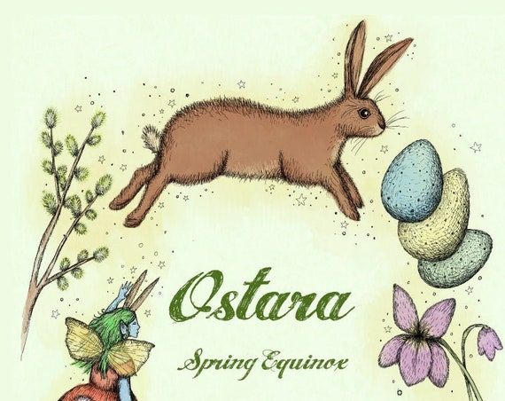 Ostara art print  - spring equinox illustration with hare, fairy, robin and other heralds of spring