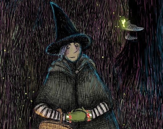 A witch walked through the woods - art print