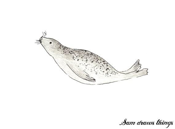 Morvoren the Selkie Seal giclee print