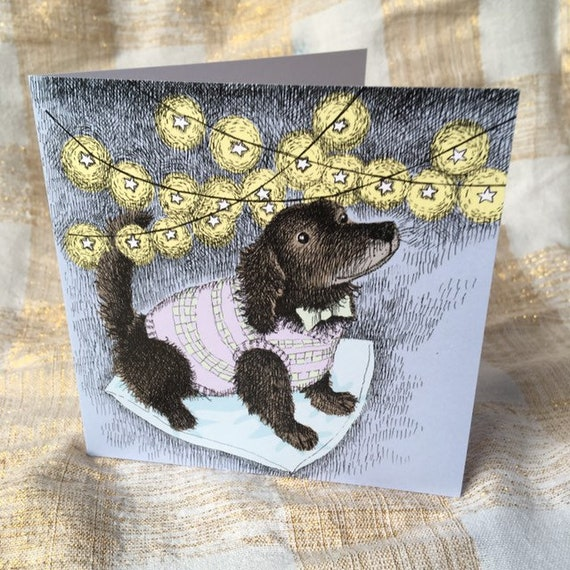 SALE Cosy Dog in a Tank Top Christmas Card set of three
