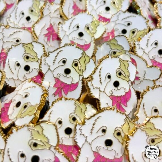 Cute little dog enamel pin - Gwen the Coton de Tulear charity badge