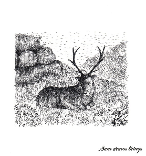 Stag in the Mountains: Original illustration