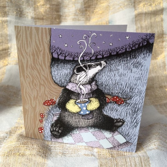 SALE Cosy Badger Christmas cards