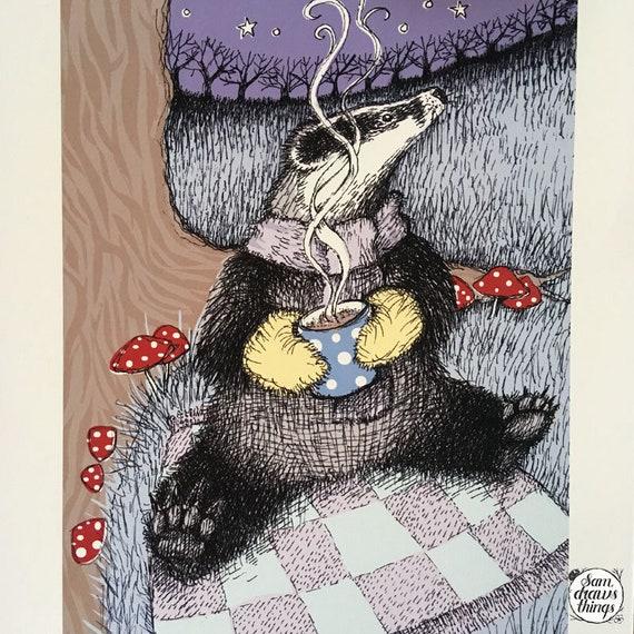 Cosy badger art print