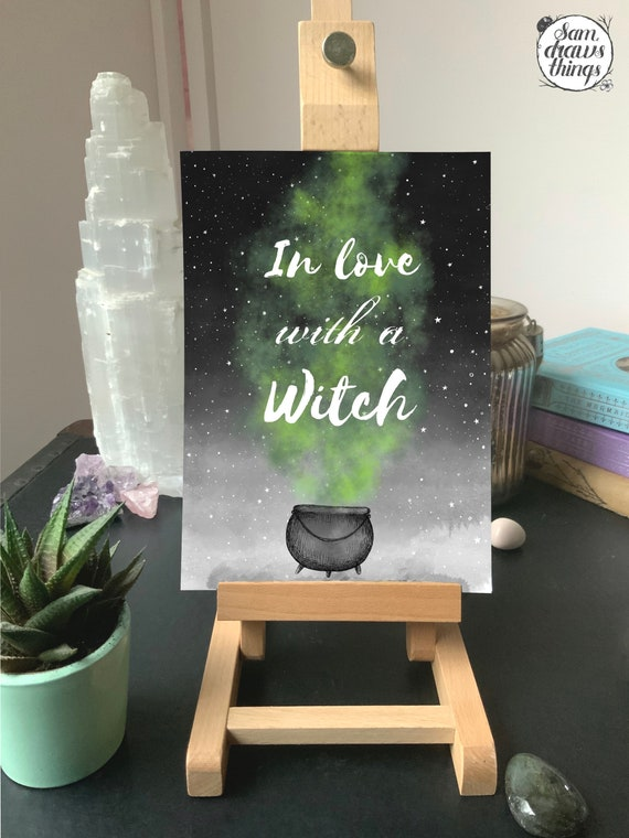 CUSTOMISABLE witch love art print for Valentine's Day